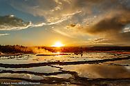 Great Fountain Geyser at sunset, Lower Geyser Basin, Yellowstone National Park, Wyoming/Montana.