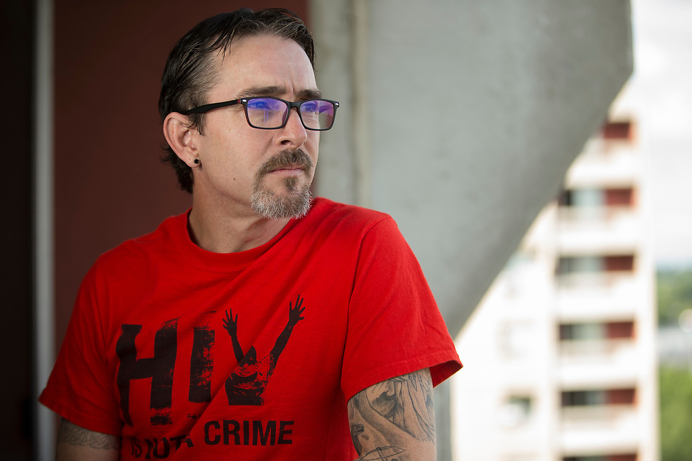 London, Ontario ---2017-09-03--- Chad Clarke, who was imprisoned for aggravated sexual assault for failing to disclose his HIV status, stands on his balcony at his apartment in London, Ontario, September 3, 2017.<br /> GEOFF ROBINS Toronto Star
