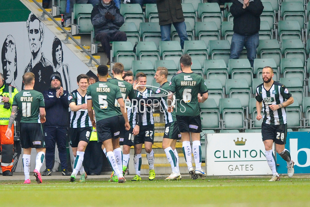 Plymouth celebrate scoring the opening goal during the Sky Bet League 2 match between Plymouth Argyle and Notts County at Home Park, Plymouth, England on 27 February 2016. Photo by Graham Hunt.