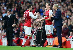 Sead Kolasinac of Arsenal is replaced by Rob Holding of Arsenal also pictured Arsenal manager Arsene Wenger - Mandatory by-line: Alex James/JMP - 28/10/2017 - FOOTBALL - Emirates Stadium - London, England - Arsenal v Swansea City - Premier League