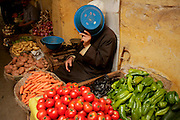 Fresh vegetables vendor in one of the medinas souks.