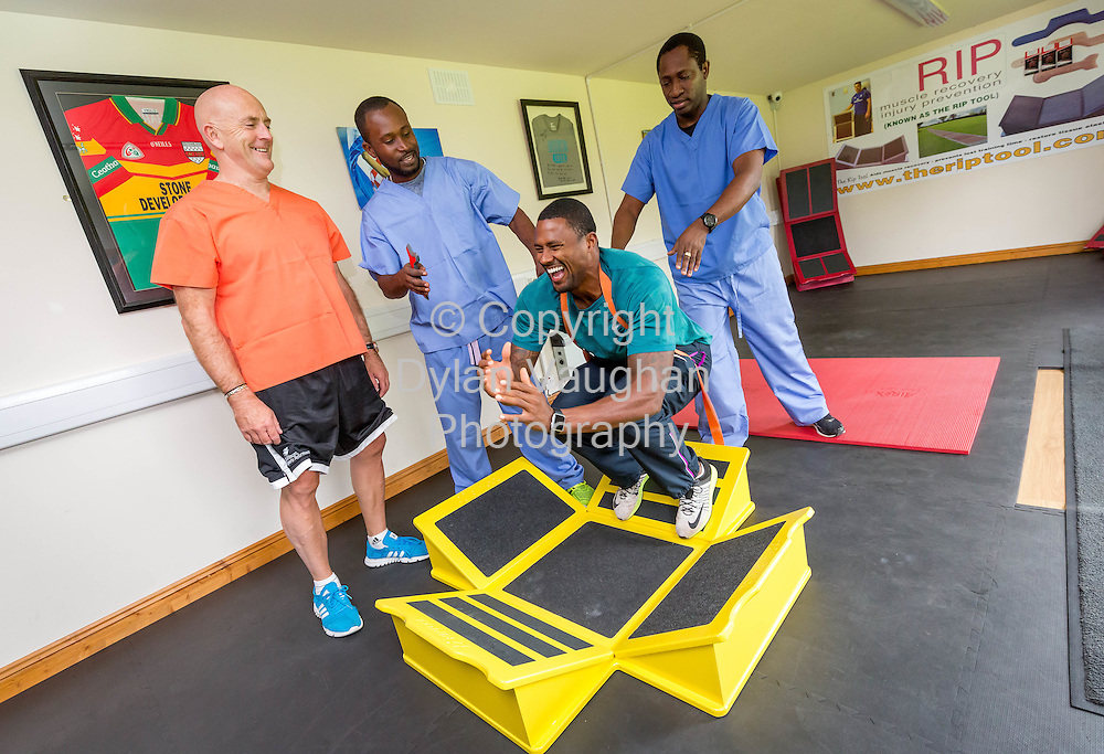 9-9-2015<br /> Anthony Geoghegan (left) of RIPTOOL pictured at his clinic in Carlow with from left Shaun Kettle (Yohan Blake's Physio), David Oliver U.S.A ,World Champion and Olympic Medalist and Everald Edwards (Usain Bolt's Physio).<br /> Picture Dylan Vaughan.<br /> Story by Damien Tiernan +353 (87) 245 5084