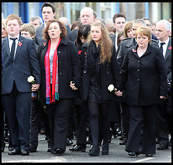 David Black Funeral. In the picture: family of murdered prison officer David Black, Cookstown, County Tyrone, Northern Ireland, November 6, 2012. Photo by Paul McErlane / i-Images.