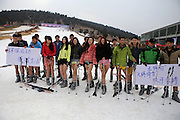 "XUZHOU, CHINA - JANUARY 13: (CHINA OUT) <br /> <br /> No Pants For Skiing<br /> <br /> Beauties take off their pants to ski at Dugongshan Ski Resort when No Pants Day  comes on January 13, 2015 in Xuzhou, Jiangsu province of China. ""World No Pants Day"" is popular around the world and some of the Chinese experience their ""No Pants Day"" even in cold winter.<br /> ©Exclusivepix Media"