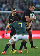 JOHANNESBURG, South Africa, 25 July 2015 : Israel Dagg of the All Blacks is tackled by Francois Louw of the Springboks during the Castle Lager Rugby Championship test match between SOUTH AFRICA and NEW ZEALAND at Emirates Airline Park in Johannesburg, South Africa on 25 July 2015. Bokke 20 - 27 All Blacks<br /> <br /> © Anton de Villiers / SASPA