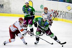 Miha Brus of Acroni Jesenice vs Jure Kralj of Tilia Olimpija at fourth Finals match of Slovenian ice hockey National Championships between HD Tilia Olimpija and HD Acroni Jesenice, on March 29, 2010, in Hala Tivoli, Ljubljana, Slovenia. Acroni Jesenice defeated Olimpija 3-2 and equalized score to 2:2.  (Photo by Vid Ponikvar / Sportida)