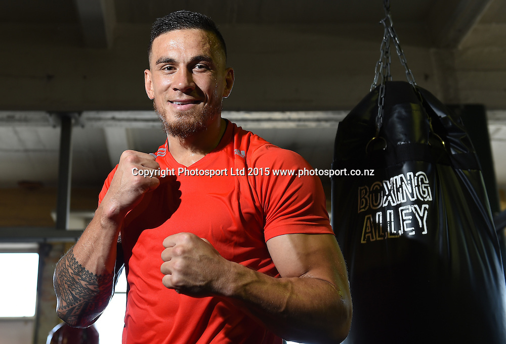All Blacks player Sonny Bill Williams poses for a picture after a boxing training session ahead of his boxing match in Sydney at the end of this month. Boxing Alley, Parnell, Auckland. New Zealand. Tuesday 20 January 2015. Copyright photo: Andrew Cornaga / www.photosport.co.nz