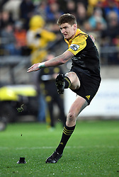 Hurricanes Jordie Barrett converts his try against the Crusaders in Super Rugby match at Westpac Stadium, Wellington, New Zealand, Saturday, July 15, 2017. Credit:SNPA / Ross Setford  **NO ARCHIVING""
