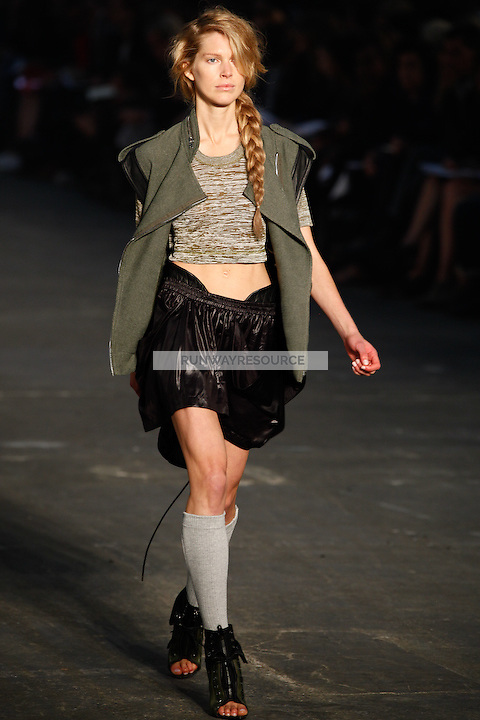 Iselin Steiro walks the runway wearing Alexander Wang Spring 2010 collection during Mercedes-Benz Fashion Week in New York, NY on September 11, 2009