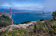 The Golden Gate Bridge on a foggy summer day, as viewed from Hawk Hill in Marin