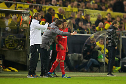 DORTMUND, GERMANY - Thursday, April 7, 2016: Liverpool's substitute Roberto Firmino is briefed by assistant manager Zeljko Buvac during the UEFA Europa League Quarter-Final 1st Leg match against Borussia Dortmund at Westfalenstadion. (Pic by David Rawcliffe/Propaganda)