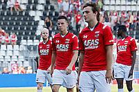 ALKMAAR - 23-08-15, AZ - Willem II, AFAS Stadion, 0-0, teleurstelling, AZ speler Jop van der Linden (l), AZ speler Thom Haye, AZ speler Joris van Overeem, AZ speler Derrick Luckassen.