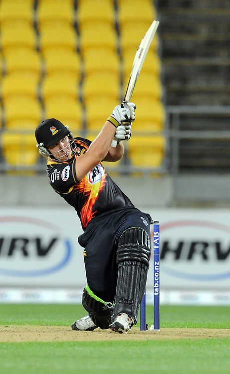 Wellington Firebirds Henry Walsh hits a six off the last ball to win the match over the Central Stags in the HRV T20 cricket match at Westpac Stadium, Wellington, New Zealand, Friday, November 22, 2013. Credit:SNPA / Ross Setford