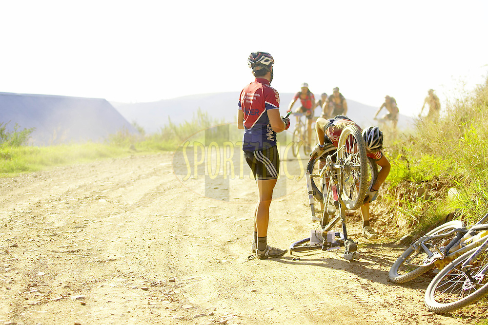 WESTERN CAPE, SOUTH AFRICA -  1 April 2008, during stage four of the 2008 Absa Cape Epic Mountain Bike stage race from Langenhoven High School in Riversdale to Swellendam Primary School in Swellendam, Western Cape, South Africa...Photo by Gary Perkin/SPORTZPICS
