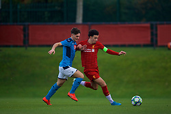 KIRKBY, ENGLAND - Wednesday, November 27, 2019: Liverpool's captain Curtis Jones (R) and Napoli's Vincenzo Potenza during the UEFA Youth League Group E match between Liverpool FC Under-19's and SSC Napoli Under-19's at the Liverpool Academy. (Pic by David Rawcliffe/Propaganda)
