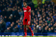 Swansea City midfielder Leroy Fer (8) feels a knock during the Premier League match between Everton and Swansea City at Goodison Park, Liverpool, England on 18 December 2017. Photo by Simon Davies.