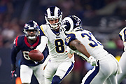 HOUSTON, TX - AUGUST 29:  Brandon Allen #8 drops back to make a hand off to Justin Davis #33 of the Los Angeles Rams during a game against the Houston Texans during week four of the preseason at NRG Stadium on August 29, 2019 in Houston, Texas. The Rams defeated the Texans 22-10.   (Photo by Wesley Hitt/Getty Images) *** Local Caption *** Brandon Allen; Justin Davis