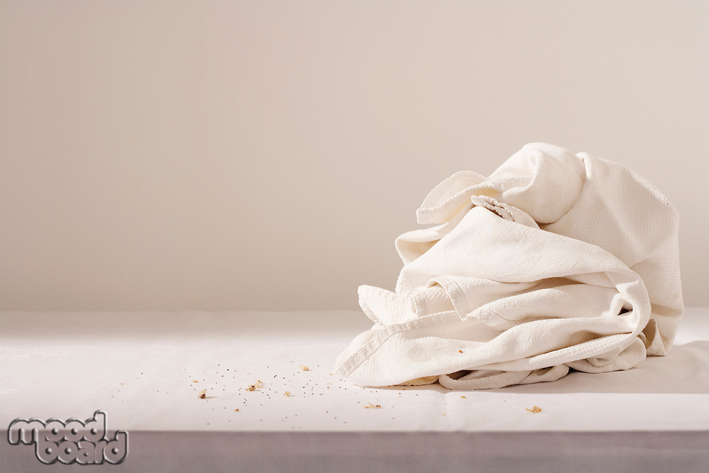 Dish cloth and crumbs on table