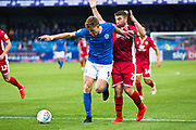 Macclesfield Town forward Joe Ironside in action  during the EFL Sky Bet League 2 match between Macclesfield Town and Morecambe at Moss Rose, Macclesfield, United Kingdom on 20 August 2019.