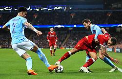 Kyle Walker of Manchester City tackles Roberto Firmino of Liverpool - Mandatory by-line: Matt McNulty/JMP - 10/04/2018 - FOOTBALL - Etihad Stadium - Manchester, England - Manchester City v Liverpool - UEFA Champions League Quarter Final Second Leg