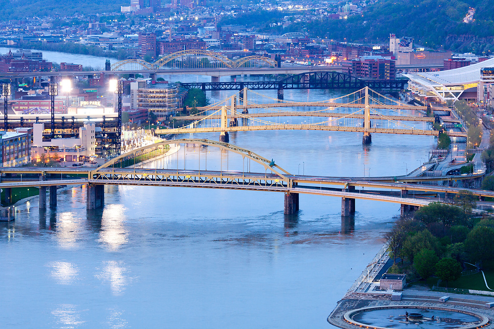 Pittsburgh, Washington State, United States - April 26, 2011: Bridges over the Allegheny River.