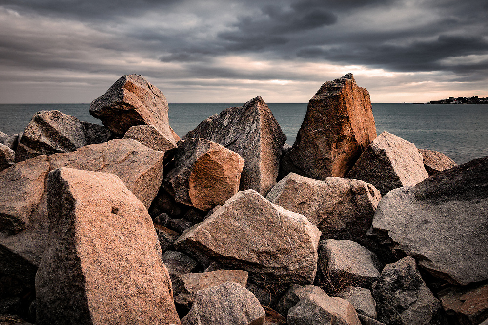 Rocks along the pier of Dun Laoghaire in county Dublin, Ireland