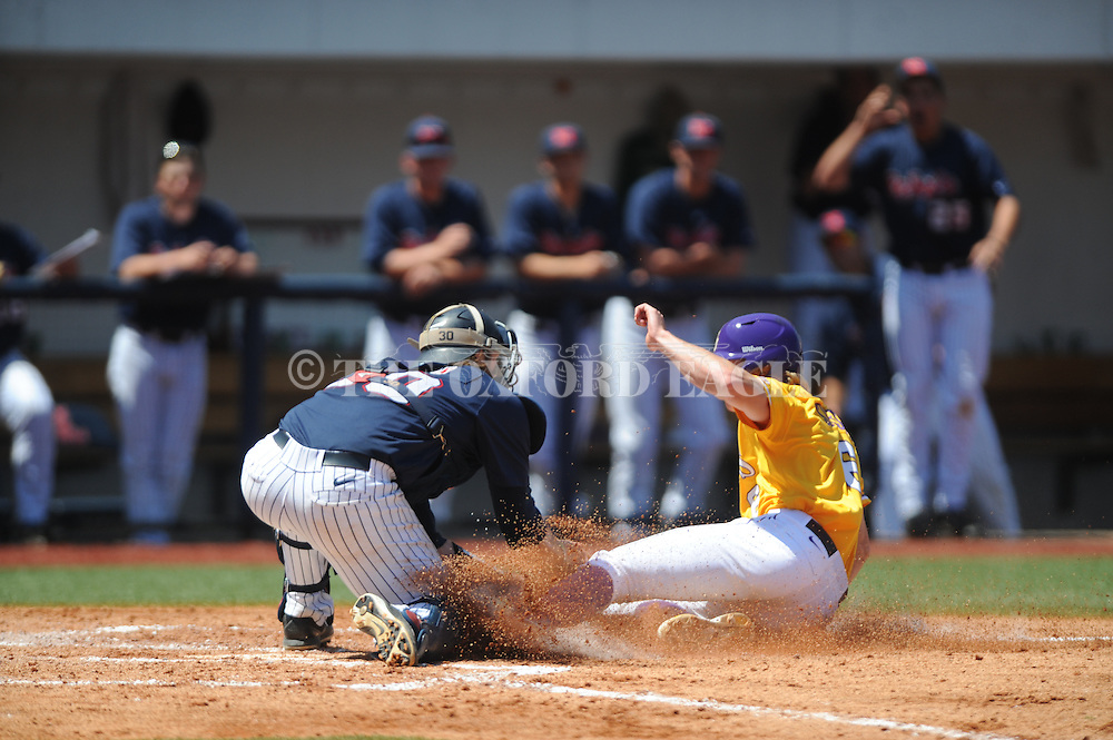 LSU's Andrew Stevenson (6) is tagged out by Mississippi catcher Will Allen at Oxford-University Stadium in Oxford, Miss. on Saturday, April 19, 2014. (AP Photo/Oxford Eagle, Bruce Newman)