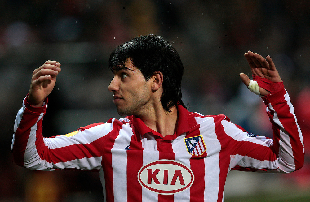 Atletico de Madrid's Sergio Leonel 'Kun' Aguero from Argentina reacts during a UEFA Europa league soccer match against Galatasaray at the Vicente Calderon stadium in Madrid, Thursday Feb. 18, 2010.