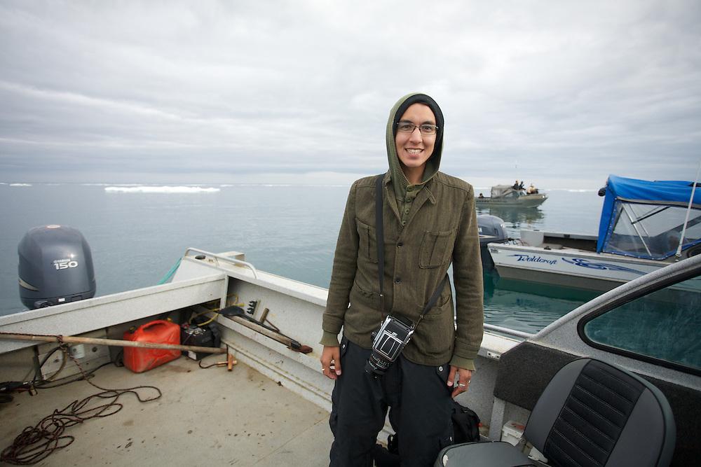 BARROW, ALASKA - 2013: Brian Adams on a seal hunt in Barrow, Alaska.