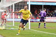 Oxford midfielder Liam Sercombe scores a goal to make it 1-3 to Oxford United and celebrates during the Sky Bet League 2 match between Crawley Town and Oxford United at the Checkatrade.com Stadium, Crawley, England on 9 April 2016. Photo by David Charbit.