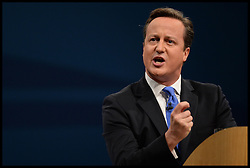 David Cameron Keynote Speech. <br /> The Prime Minister David Cameron delivering his keynote speech to the Conservative Party Conference, Manchester, United Kingdom. Wednesday, 2nd October 2013. Picture by Andrew Parsons / i-Images