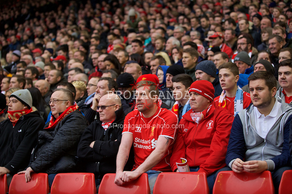LIVERPOOL, ENGLAND - Sunday, March 1, 2015: Liverpool supporters during the Premier League match against Manchester City at Anfield. (Pic by David Rawcliffe/Propaganda)