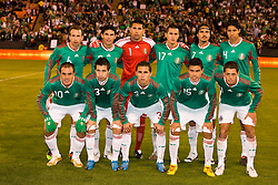 February 24, 2010; San Francisco, CA, USA;  Mexico forward Cuauhtemoc Blanco (10) and midfielder Luis Miguel Noriega (13) and defender Paul Aguilar (3) and forward Pablo Berrera (15) and forward Javier Hernandez (11) and midfielder Gerardo Torrado (6) and defender Jonny Magallon (2) and goalkeeper Luis Ernesto Michel (1) and defender Jorge Torres (17) and midfielder Braulio Luna (7) and defender Hugo Ayala (4) before the game against Bolivia at Candlestick Park. Mexico defeated Bolivia 5-0.