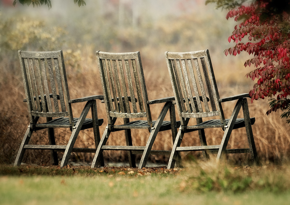 Three chairs on Torrey Pond Norwell, Massachusetts.