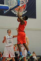 Bristol Flyers' Alif Bland scores a basket - Photo mandatory by-line: Robbie Stephenson/JMP - Mobile: 07966 386802 - 18/04/2015 - SPORT - Basketball - Bristol - SGS Wise Campus - Bristol Flyers v Leeds Force - British Basketball League