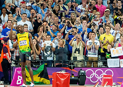 09.08.2012, Olympia Stadion, London, GBR, Olympia 2012, Leichtathletik, im Bild USAIN BOLT // during Athletics, at the 2012 Summer Olympics at the Olympic Stadium, London, United Kingdom on 2012/08/09. EXPA Pictures © 2012, PhotoCredit: EXPA/ Newspix/ Sebastian Borowski..***** ATTENTION - for AUT, SLO, CRO, SRB, SUI and SWE only *****