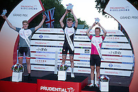 Male Youth Race Winners on the podium at the Prudential RideLondon FreeCycle, Saturday 1st August 2015. <br /> <br /> 1st Place Jake Stewart<br /> 2nd Place Charles Page<br /> 3rd Place Jim Brown<br /> <br /> Prudential RideLondon is the world's greatest festival of cycling, involving 95,000+ cyclists – from Olympic champions to a free family fun ride - riding in five events over closed roads in London and Surrey over the weekend of 1st and 2nd August 2015. <br /> <br /> Photo: Paul Gregory<br /> <br /> See www.PrudentialRideLondon.co.uk for more.<br /> <br /> For further information: Penny Dain 07799 170433<br /> pennyd@ridelondon.co.uk