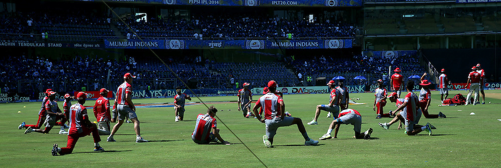 Team Members of KIngs XI Punjab Warm up before the match 22 of the Pepsi Indian Premier League Season 2014 between the Mumbai Indians and the Kings XI Punjab held at the Wankhede Cricket Stadium, Mumbai, India on the 3rd May  2014<br /> <br /> Photo by Sandeep Shetty / IPL / SPORTZPICS<br /> <br /> <br /> <br /> Image use subject to terms and conditions which can be found here:  http://sportzpics.photoshelter.com/gallery/Pepsi-IPL-Image-terms-and-conditions/G00004VW1IVJ.gB0/C0000TScjhBM6ikg