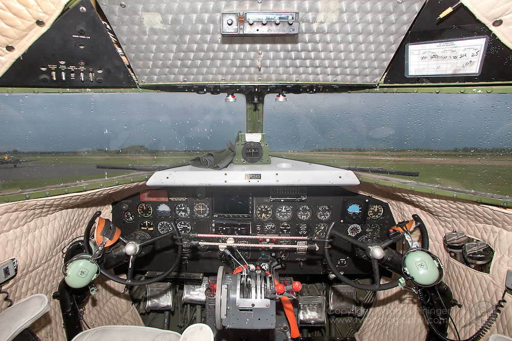 """A view of the instrument panel inside C-49J """"Southern Cross"""", AF 43-1975, N87745."""