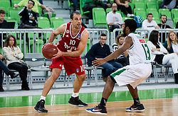 Yotam Halperin of Hapoel vs Brandon Jefferson #13 of KK Union Olimpija during basketball match between KK Union Olimpija Ljubljana (SLO) and Hapoel Jerusalem (ISR) in Round #4 of 7Days EuroCup 2016/17, on October 26, 2016 in Arena Stozice, Ljubljana, Slovenia. Photo by Vid Ponikvar / Sportida