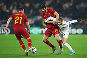 Federico Fazio of Roma (C), Jordan Veretout of Roma (L) and Shon Weissman of Wolfsberg (R) in action during the UEFA Europa League, Group J football match between AS Roma and Wolfsberg AC on December 12, 2019 at Stadio Olimpico in Rome, Italy - Photo Federico Proietti / ProSportsImages / DPPI