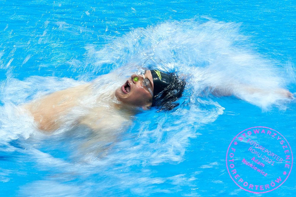 Ashgabat, Turkmenistan - 2017 September 24: Musa Jalayew from Turkmenistan competes in Men's 100m Backstroke Heat 3 while Short Course Swimming competition during 2017 Ashgabat 5th Asian Indoor & Martial Arts Games at Aquatics Centre (AQC) at Ashgabat Olympic Complex on September 24, 2017 in Ashgabat, Turkmenistan.<br /> <br /> Photo by © Adam Nurkiewicz / Laurel Photo Services