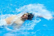 Ashgabat, Turkmenistan - 2017 September 24: Musa Jalayew from Turkmenistan competes in Men's 100m Backstroke Heat 3 while Short Course Swimming competition during 2017 Ashgabat 5th Asian Indoor &amp; Martial Arts Games at Aquatics Centre (AQC) at Ashgabat Olympic Complex on September 24, 2017 in Ashgabat, Turkmenistan.<br /> <br /> Photo by &copy; Adam Nurkiewicz / Laurel Photo Services