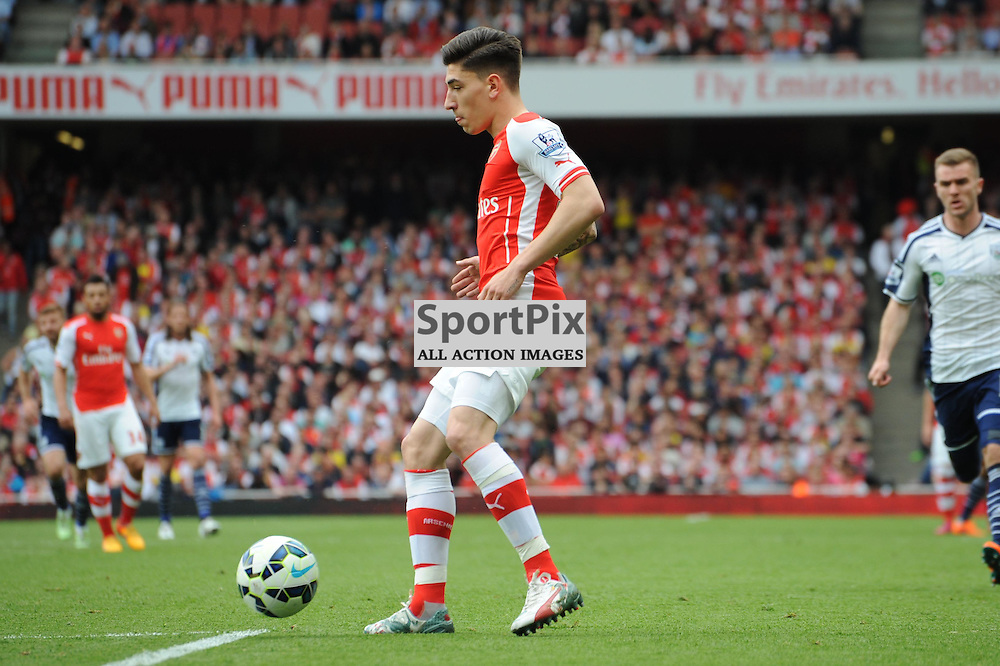 Arsenals Hector Bellerin in action during the Arsenal v West Brom match on Sunday 24th May 2015
