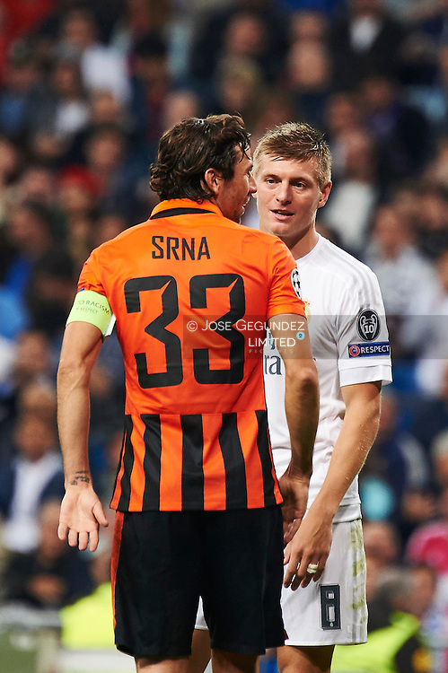Toni Kroos (midfielder, Real Madrid F.C.), Darijo Srna (defender, Shakhtar Donetsk) in action during the UEFA Champions League match between Real Madrid and FC Shakhtar Donetsk at Santiago Bernabeu on September 15, 2015 in Madrid
