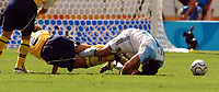 28/08/04 - ATHENS - GREECE -  - OLYMPIC FOOTBALL - FINAL MATCH - MENS  -  At the Olympic Stadium in Athens<br />ARGETNINA (1) win over PARAGUAY (0).<br />Argentine player N* 11 CRISITAN KILLY GONZALEZ AND PARAGUAY N*2 EMILIO MARTINEZ.<br />© Gabriel Piko / Argenpress.com / Piko-Press