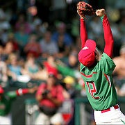 8/22/10 Aberdeen, MD: Mexico Gerardo Haro drops to his knees as Mexcio beats Ocala Florida at The 2010 Cal Ripken World Series in Aberdeen MD.