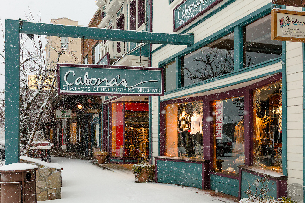 """Downtown Truckee 44"" - Photograph of historic Downtown Truckee, California shot during a snow storm."
