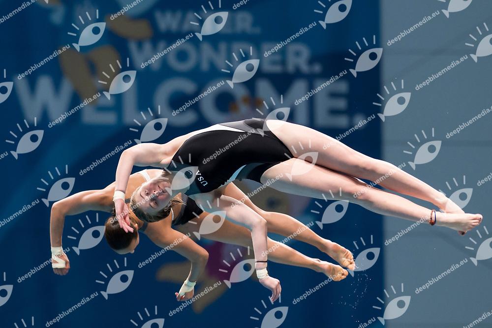 GILLILAND Tarrin PARRATTO Jessica USA<br /> Diving<br /> Women's 1om platform final<br /> 16/07/2017 <br /> XVII FINA World Championships Aquatics<br /> Duna Arena<br /> Photo @ Giorgio Perottino/Deepbluemedia/Insidefoto
