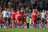 Photo: Andrew Unwin.<br />Middlesbrough v West Ham United. The Barclays Premiership. 17/04/2006.<br />Middlesbrough celebrate their second goal scored by Massimo Maccarone (#18).